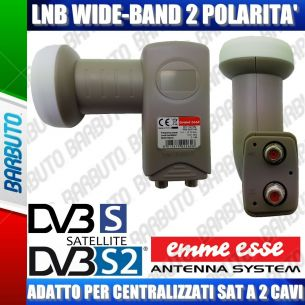 LNB OCCHIO CONVERTITORE WIDE BAND A 2 USCITE H-V 0,1dB NF 55dB GAIN 80192W