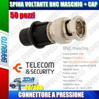 50 PZ SPINA VOLANTE BNC MASCHIO CON SISTEMA CAP, ART. KBM TELECOM E SECURITY