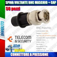 50 PZ SPINA VOLANTE BNC MASCHIO CON SISTEMA CAP, ART. KBMHD TELECOM E SECURITY