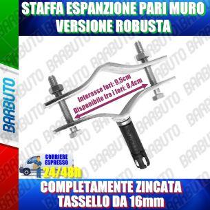 STAFFA CON TASSELLO METALLICO AD ESPANSIONE PARI MURO  DAL MURO PESANTE