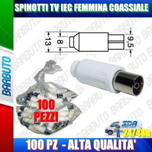100 PEZZI DI SPINOTTI TV IEC FEMMINA DRITTO COASSIALE