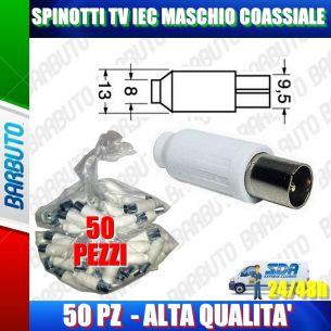 50 PEZZI DI SPINOTTI TV IEC MASCHIO DRITTO COASSIALE