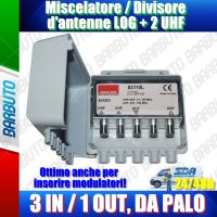 Miscelatore / Accoppiatore d'antenne VHF + 2 UHF 3IN/1OUT da palo, Emmeesse 83110L