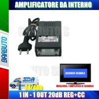 AMPLIFICATORE DI LINEA CON PASSAGGIO +CC 20dB 1 OUT