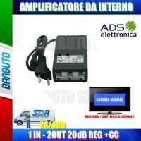 AMPLIFICATORE DI LINEA INTERNO CON PASSAGGIO +CC 20dB 2 OUT, MIGLIORA SEGNALE TV