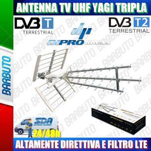 ANTENNA PER TV DIGITALE TERRESTRE UHF YAGI TRIPLA DIRETTIVA ANTI LTE
