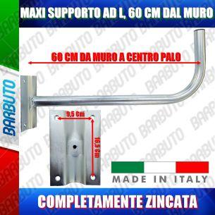 SUPPORTO PALO/STAFFA A MURO AD L MAXI DA 60 CM PER PARABOLA SATELLITARE