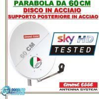 PARABOLA 60 CM IN ACCIAIO EMMEESSE ANTENNA  SATELLITARE CON SUPPORTO IN ACCIAIO