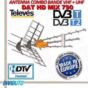 ANTENNA TV COMBO VHF + UHF AMPLIFICATA 44dB TELEVES 149442 DAT BOSS MIX T-FORCE
