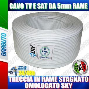 50 mt DI CAVO OMOLOGATO SKY MICROTEK H21 IN RAME PER TV E SAT D. 5mm CLASSE B