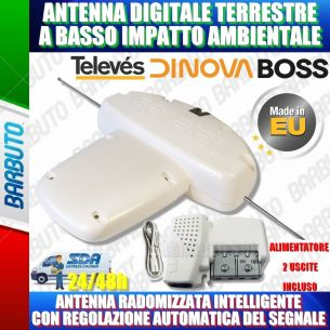 ANTENNA DIGINOVA BOSS MIX LTE 34dB TELEVES 144211 + ALIMENTATORE 2 OUT 579401