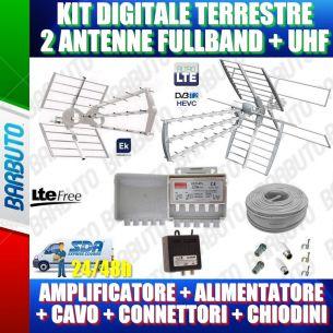 KIT ANTENNA DIGITALE TERRESTRE (FOLIGNO) COMPLETO DI 2 ANTENNE (FULLBAND + UHF), AMPLI, ALIM, CAVO