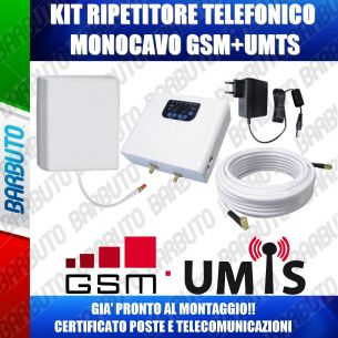 KIT AMPLIFICATORE TELEFONIA MOBILE DUAL BAND GSM-UMTS 17 dBm CERTIFICATO 2014/53/UE/RED