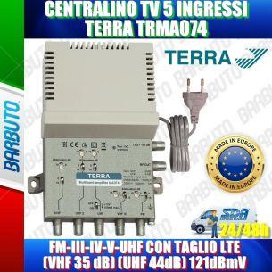 CENTRALINO TV 5 IN, FM-III-IV-V-UHF CON TAGLIO LTE VHF-35 dB UHF-44dB 121dBmV TERRA TRMA074