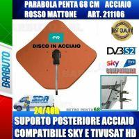 PARABOLA 68 CM IN ACCIAIO PENTA FRACARRO ROSSO SUPPORTO POSTER. ACCIAIO 211106