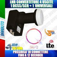 ILLUMINATORE LNB OCCHIO PER PARABOLA 1 USCITA DSCC PER SKY Q + 1 USCITA LEGACY  0.1 dB 4K HD & 3D - GT-S1DCSS24