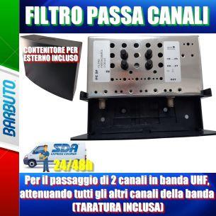 Filtro per il passaggio di 2 canali in banda UHF, attenuando tutti gli altri canali della banda (TARATURA INCLUSA)