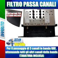 Filtro per il passaggio di 3 canali in banda UHF, attenuando tutti gli altri canali della banda (TARATURA INCLUSA)