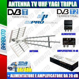 ANTENNA PER TV DIGITALE TERRESTRE UHF TRIPLA + ALIMENTATORE E AMPLIFICATORE 20dB