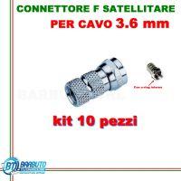 10 CONNETTORI F A VITE PER SATELLITE PER CAVO DA 3,6 mm CON ANELLO IMPERMEABILE