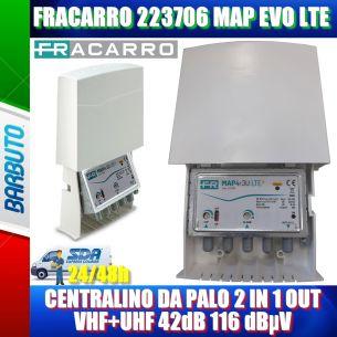 FRACARRO 223706 MAP EVO LTE CENTRALINO DA PALO 2 IN 1 OUT VHF+UHF 42dB