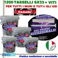 1200 TASSELLI UNIVERSALI FRIULSIDER FIXY IN NYLON 6X33mm + VITE E CON SECCHIELLO