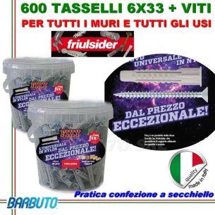 600 TASSELLI UNIVERSALI FRIULSIDER FIXY IN NYLON 6X33mm + VITE E CON SECCHIELLO