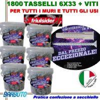 1800 TASSELLI UNIVERSALI FRIULSIDER FIXI IN NYLON 6X33mm + VITE E CON SECCHIELLO