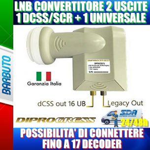 ILLUMINATORE LNB PER PARABOLA SKY Q DPDCSS1L + 1 USCITA 0.1 dB 4K HD & 3D