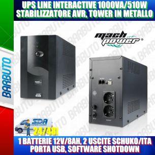 UPS LINE INTERACTIVE 1000VA STABILIZZATORE AVR IN METALLO 1 BAT PRESE UNIVERSALI