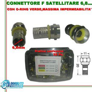 CONNETTORE F SATELLITARE 6,8mm 25 PEZZI CON O-RING MASSIMA IMPERMEABILITÀ