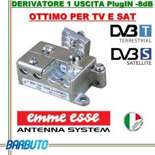 DERIVATORE 1 USCITA EMMEESSE SERIE PlugIN MODEL D1/08 IN PRESSOFUSIONE COD 81659