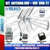 KIT ANTENNA TV COMBO UHF-VHF + ALIMENTATORE,AMPLIFICATORE E PUNTATORE SEGNALE