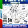 KIT COMPLETO TV DIGITALE TERRESTRE ANTENNA COMBO 35dB PARTITORE PER 3 TV INCLUSO