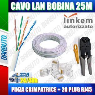 KIT 25MT DI CAVO LAN CAT5e UTP 100%RAME OMOLOGATO LINKEM + PINZA + 20 PLUG RJ45