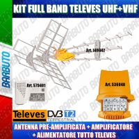 KIT ANTENNA TERRESTRE TELEVES 149442 COMBO DAT HD 790  + AMPLIFICATORE 536040 +ALIMENTATORE 2 OUT 579401