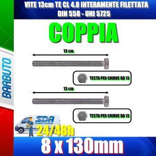VITE PERNO 13cm 8x130mm ACC.4.8 COPPIA INTERAMENTE FILETTATA - DIN 558 - UNI 572