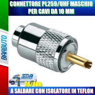CONNETTORE PL259 MASCHIO UHF PER CAVI DA 10 MM A SALDARE CON ISOLATORE IN TEFLON