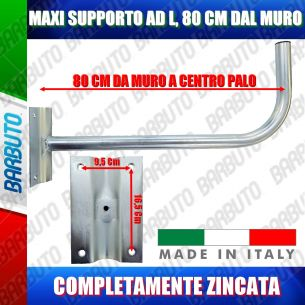 SUPPORTO PALO MURO AD L MAXI DA  80 CM PER PARABOLA SATELLITARE