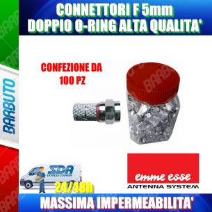 100 CONNETTORI F 5 mm CON O-RING ROSSO - IMPERMEABILE - ALTA' QUALITA'