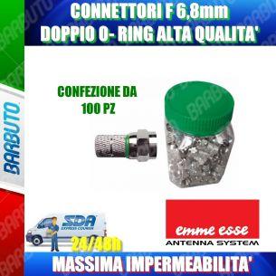 100 CONNETTORI F 6,8 mm CON O-RING VERDE - IMPERMEABILE - ALTA' QUALITA'