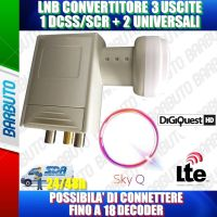 ILLUMINATORE LNB OCCHIO PER PARABOLA 1 USCITA DSCC PER SKY Q + 2 USCITA LEGACY  0.1 dB 4K HD & 3D - DIGIQUEST LNB700L2