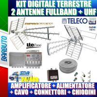 KIT ANTENNA DIGITALE TERRESTRE CON 2 ANTENNE (FULLBAND + UHF), AMPLI, ALIM, CAVO