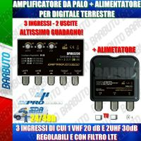 AMPLIFICATORE DA PALO + ALIMENTATORE PER DIGITALE TERRESTRE 3 IN VHF+2UHF 30 dB