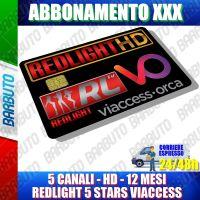 SCHEDA TESSERA ABBONAMENTO ADULTI REDLIGHT 5 STARS 5 CANALI 12 MESI VIACCESS XXX