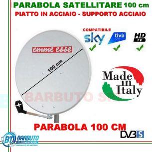 PARABOLA 100 CM IN ACCIAIO EMMEESSE ANTENNA SATELLITARE CON SUPPORTO IN ACCIAIO