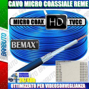 CAVO MICRO COASSIALE HD 3mm RAME VIDEOSORVEGLIANZA BLU 100 METRI