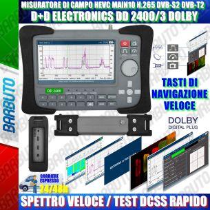 MISURATORE DI CAMPO HEVC MAIN10 H.265 DVB-S2 DVB-T2 D+DELECTRONICS DD2400 DOLBY SPETTRO VELOCE E REATTIVO, CON TEST DCSS