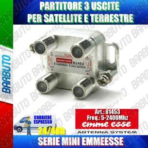 PARTITORE 3 USCITE, SPLITTER SAT, CONNETTORE F MARCA EMMEESSE SERIE MINI 81453