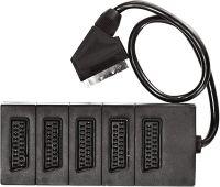 CIABATTA SCART ADATTATORE MULTISCART 5 VIE 21 POLI CAVO DA 1 MT  Multi scart parallela a 5 ingressi per apparecchi audio